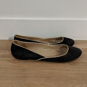 J.Crew black suede flats with gold trim - size 9